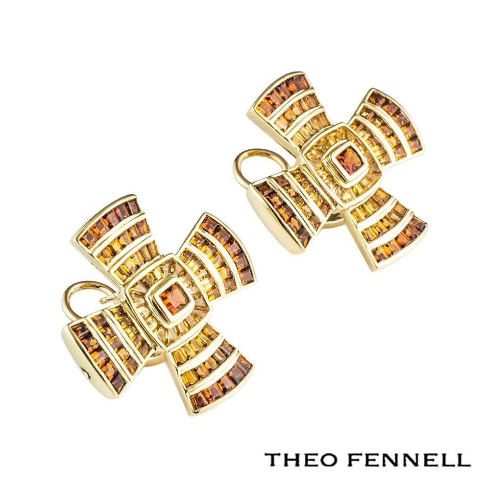 Theo Fennell Yellow Gold Multi-Gem Cross Earrings